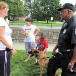 "Photo: Residents, officers mingle at ""Hilltop Beach Party"""