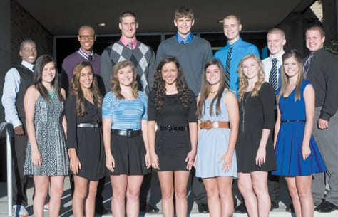 The 2013 homecoming court for Bishop Ready High School is (back row, left to right) Akili Taylor, Shane Lee, Matthew Yoho, Joshua Gantz, James Hanley, Kelly Culbertson and Andrew Hurd; (front row, left to right)  Kaitlyn Keyes, Haylee Patel, Ava Willford, Lauren Rivera, Caroline Riewe, Holland Jones and Sarah Warbis.  Rivera was crowned queen and Lee was crowned king of the court at the school's homecoming game, a win over Washington Court House.