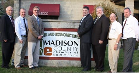 (From left) State Rep. Bob Hackett, Madison County commissioners Paul Gross and David Dhume, Madison County's new economic development director David Kell, Madison County Future Inc. Community Improvement Corp. president Dustin Parker, Mount Sterling Mayor Charlie Neff and Mount Sterling Village Manager Joe Johnson.