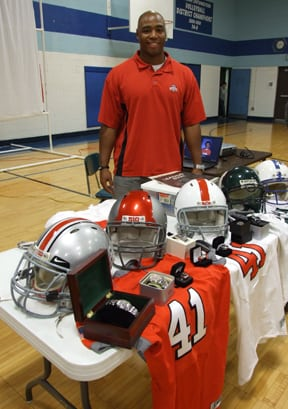 Messenger photo by Dedra Cordle Tony Jackson, a former linebacker at The Ohio State University (2007-2011), came back to his former stomping grounds at Norton Middle School to speak to students about never giving up on their dreams. He donated his Buckeye uniform to remind them that good things can come to those who do not quit.