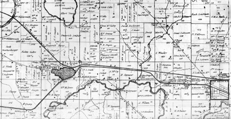 A map showing a portion of Madison Township from 1872.