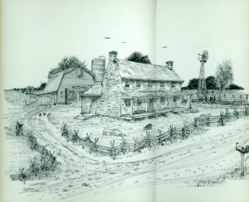 Photo courtesy of the Southwest Public Libraries Drawing depicting the Sawyer family farmhouse, 4126 Haughn Road in Grove City,  as it would have looked in the mid-1800's. Illustrator: Carl E. Green.