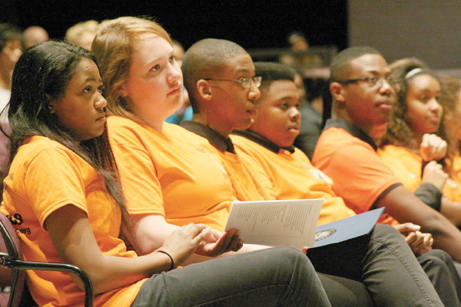 Members of the coalition listen to a presentation at the Break Every Chain human trafficking conference, that they planned, held at the high school's Summit Road campus.