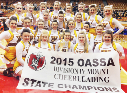 West Jefferson High School's competition cheerleading team won the OASSA state championship in the Div. IV mount category on March 1: (front row, from left) Madison Farley, Megan Jester, Shoshone Sestito, Alyssa Jacobs, Kelsey Hockenbery; (second row) Jordan Schumacher, Madison Danford, Morgan McKinney, Montana Morris, Kelsi Johnson, Alyssa Rayburn, Lindsay Green; (third row) Laura Scott, Forest Stull, Aaliyah Williams; (back row) Victoria King, Kailee Hiss, Alyssa Sabin, Lauren Thompson, Madeline Jennings, Alyssa Casto, Maddie Lelonek and Cassie Maust.