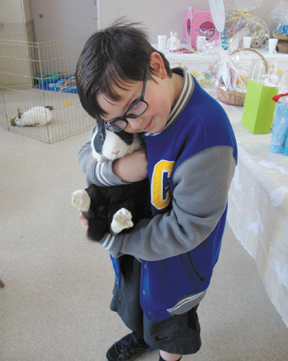 Messenger photo by Amanda Amsel Phil Cox, 8, holds a bunny at the Capital Area Humane Society event Make Mine Chocolate. The event aimed to educate residents about bunny rescue, adoption and education.