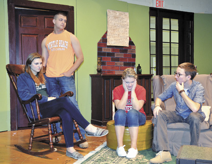 "Messenger photo by Kristy Zurbrick (From left) Amber Massie, Walker Tipton, Abby Thompson and James Lawless rehearse a scene from Madison-Plains' upcoming production of ""And Then There Were None."""