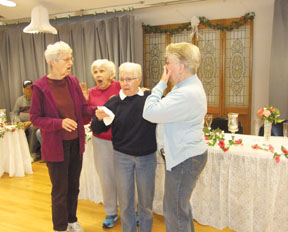 Messenger photo by Dedra Cordle What has the Showstoppers actors Barbara Morris, Prudence Gifford, Donna Christensen and Jean Slussar so upset? Hint: It involves wedding day chaos in the group's upcoming comedic play, Homer and Gwendolyn Take the Plunge.