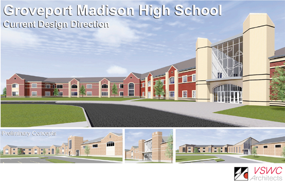 """Image by VSWC Architects Here is the preliminary design for the new Groveport Madison High School. """"The three images on the bottom are the renditions that were tweaked to get to the current design,"""" said Groveport Madison Schools Public Relations Officer Mary Guiher."""