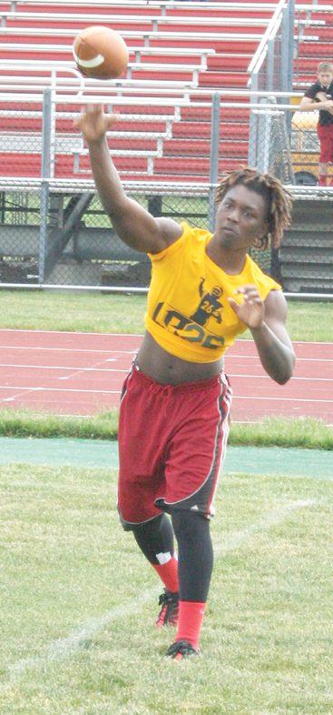 Groveport Madison Cruiser quarterback Seneca Cameron honing his passing skills at the camp.