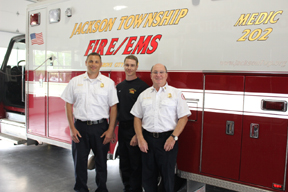 Jackson Township Division of Fire Captain Shawn Quincel, firefighter Chris Hite and Fire Chief, Rick Dawson were in the audience at the Grove City graduation when a man began have breathing difficulties. They rushed to help him and received praise for school staff.