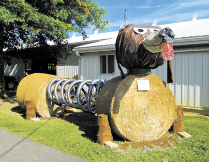 This display at last year's Lorain County Fair inspired a new contest at this year's Madison County Fair—a hay bale decorating contest.