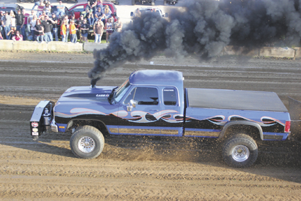 """In his truck named """"Thunderstruck,"""" John Shriver of London won the 3.0 diesel class at the 1st Annual Danny Toops Memorial Truck Pull last year. This year, the event features dirt drags on June 12 and the truck pull on June 13, both at the Madison County Fairgrounds in London."""