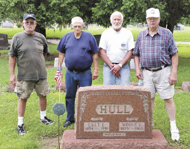 (From left) Dave Cunningham, Gary Groves, Jack Cunningham and Carl Fry repaired and replaced flag holders that mark veterans' graves at Summerford Cemetery. The volunteers are members of Vietnam Veterans of America Chapter 746, London. (Not pictured: Terry Arbogast.)
