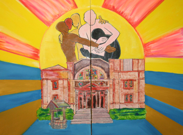 "Messenger photo by Dedra Cordle  In honor of Dr. Martin Luther King Jr.'s call to service, dozens of volunteers across central Ohio came to the J. Ashburn Jr. Youth Center last month to work on a mural depicting the importance of giving back to your community. Shown here is a portion of the mural from local artist Richard ""Duarte"" Brown.  This part of the mural represents the comfort that the Youth Center has provided throughout its history."
