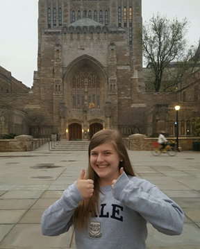 Grove City resident and Franklin Heights High School graduate Allison Hammer will attend Yale in the fall after weighing scholarship offers from numerous Ivy League institutions. Here she is during a visit to Yale.